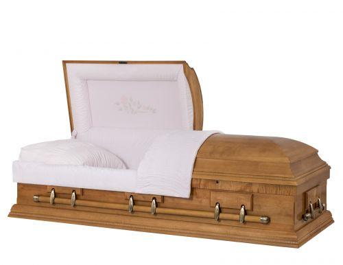 Concept Caskets 08215-00088-N MAPLE CASKET POLISHED NOVA VELVET TOPAZ ADJUSTABLE BED YES W1462W-0    6 X 2 ANTIQUE GOLD