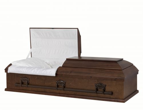 Concept Caskets 10615-00001-N POPLAR CASKET OPEN GRAIN  TAFFETA  DARK WALNUT  ADJUSTABLE BED NO 909    3 X 0 BRONZE