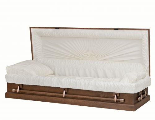 Concept Caskets 12915-00043-N POPLAR CASKET OPEN GRAIN CREPE  MEDIUM  ADJUSTABLE BED NO W1A32X-1    3 X 2 ANTIQUE COPPER