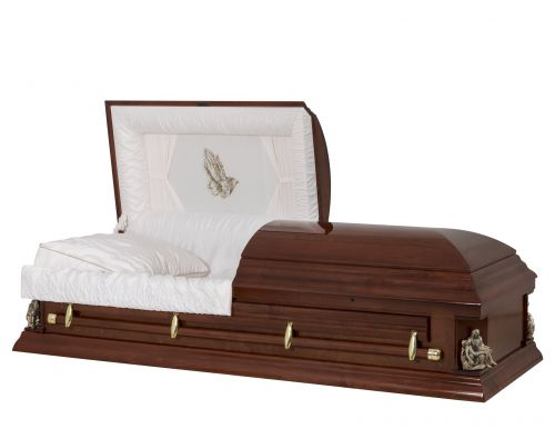 Concept Caskets 17247-00059-N POPLAR CASKET POLISHED CREPE CHERRY WOOD FIBER NO W1540G-1    4 X 0 GOLD PIETA