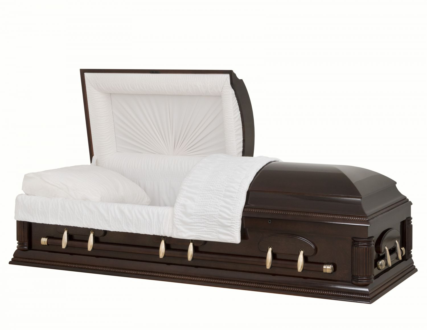 Concept Caskets 18204-00849-N POPLAR CASKET POLISHED NOVA VELVET  SOUTH MAHOGANY  MATRESS YES W1462W-1    6 X 2 ANTIQUE GOLD