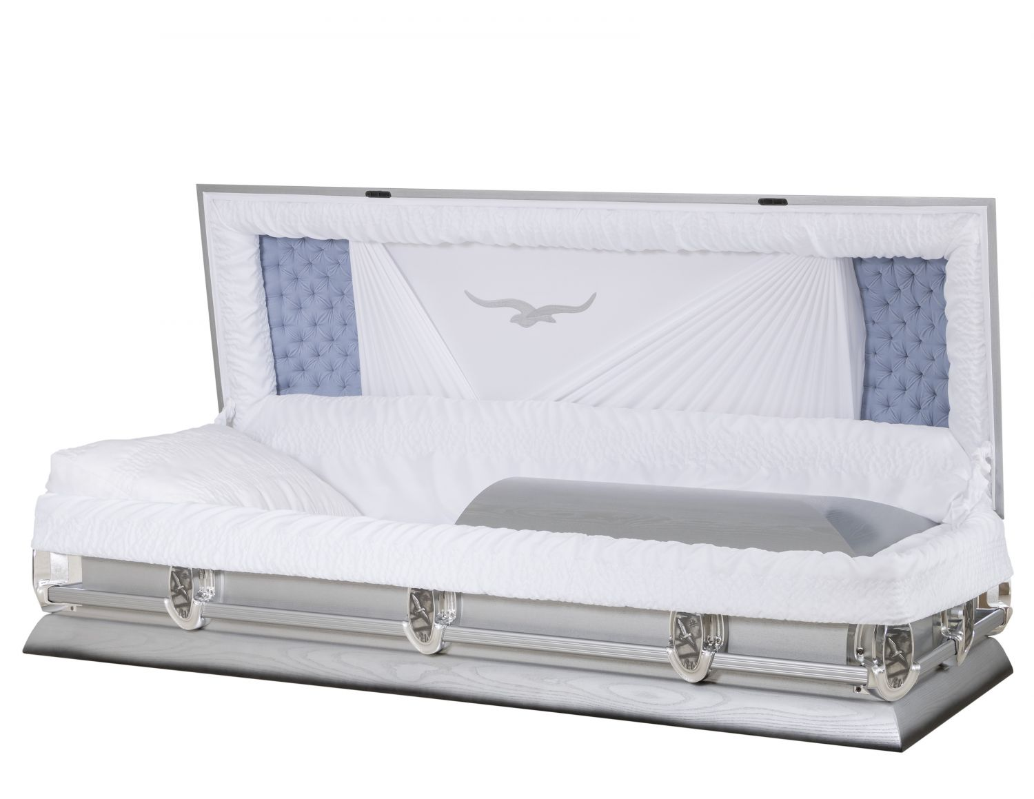 Concept Caskets 40100-00223-N ASH CASKET POLISHED CREPE GREY WOOD FIBER NO BA-18NCK BUMPER 3 X 1 NICKEL