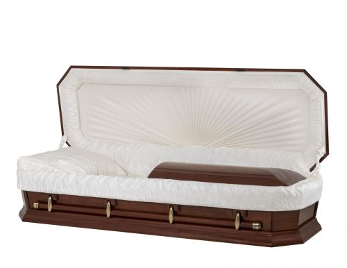 Concept Caskets 28162-00012-N POPLAR CASKET POLISHED CREPE CHERRY WOOD FIBER NO H1540W-1    4 X 0 ANTIQUE GOLD