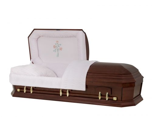 Concept Caskets 28262-00047-N POPLAR CASKET POLISHED NOVA VELVET CHERRY ADJUSTABLE BED YES W1260G-1    6 X 0 ANTIQUE GOLD