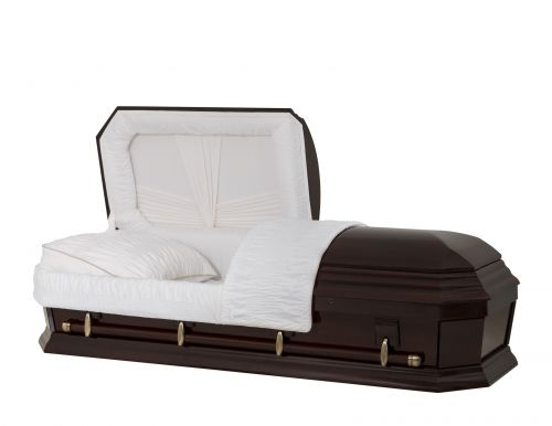 Concept Caskets 28262-00477-N POPLAR CASKET POLISHED NOVA VELVET AMARETTO MATRESS YES W1540W-1    4 X 0 ANTIQUE GOLD