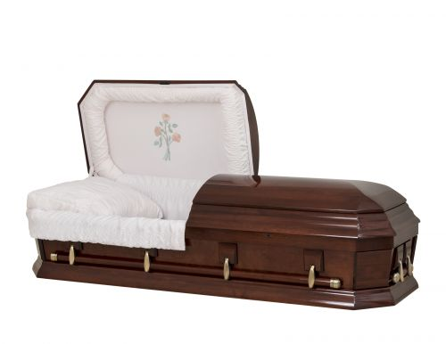 Concept Caskets 28262-00478-N POPLAR CASKET POLISHED  CREPE  CHERRY  MATRESS NO W1942W-1    4 X 2 ANTIQUE GOLD