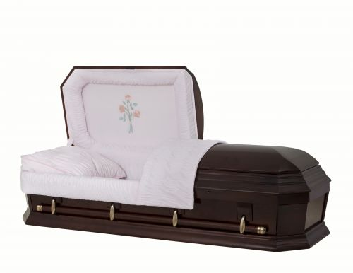 Concept Caskets 28262-00481-N POPLAR CASKET POLISHED  NOVA VELVET  AMARETTO  MATRESS YES W1940W-1    4 X 0 ANTIQUE GOLD