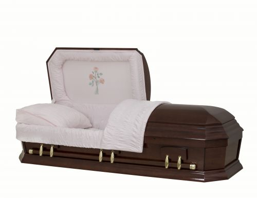 Concept Caskets 28262-00486-N POPLAR CASKET POLISHED NOVA VELVET CHERRY MATRESS YES W1260G-1    6 X 0 ANTIQUE GOLD