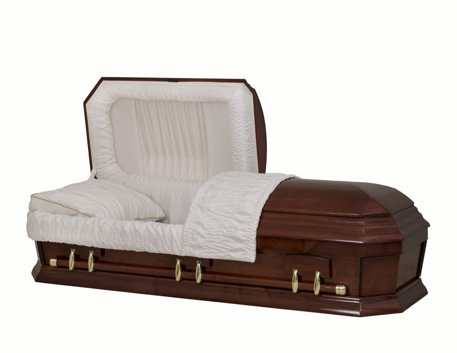 Concept Caskets 28262-00487-N POPLAR CASKET POLISHED  CREPE  CHERRY  MATRESS YES W1260G-1    6 X 0 ANTIQUE GOLD