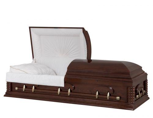Concept Caskets 57250-00012-N CHERRY CASKET POLISHED NOVA VELVET CHERRY ADJUSTABLE BED NO W1462W-5    6 X 2 ANTIQUE GOLD