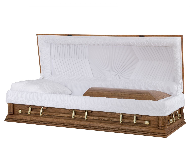 Concept Caskets 62139-00011-N OAK CASKET POLISHED CREPE DARK MEDIUM ADJUSTABLE BED NO W1462-G    6 X 2 OR