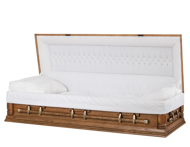 Concept Caskets 62905-00016-N OAK CASKET OPEN GRAIN  NOVA VELVET  DARK MEDIUM  ADJUSTABLE BED NO W1462W-6    6 X 2 ANTIQUE GOLD