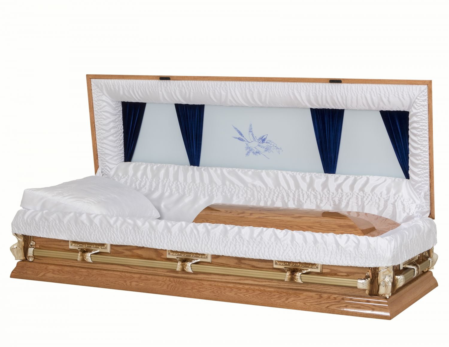 Concept Caskets 65100-00230-N OAK CASKET POLISHED  CREPE  MEDIUM MATRESS NO B8012 BUMPER 3 X 1 ANTIQUE GOLD LAST SUPPER / ANGEL