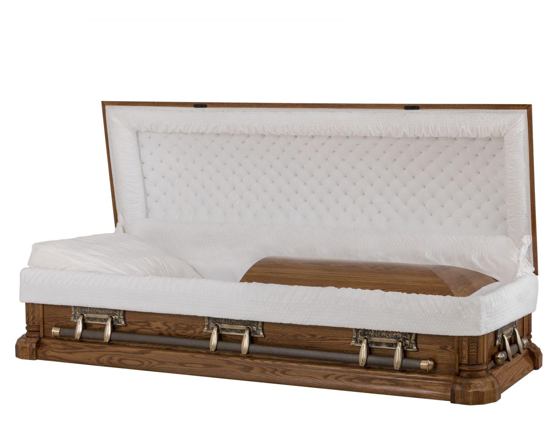Concept Caskets 64122-00034-N OAK CASKET POLISHED NOVA VELVET DARK MEDIUM ADJUSTABLE BED NO 8014    3 X 1 BRIGHT GOLD