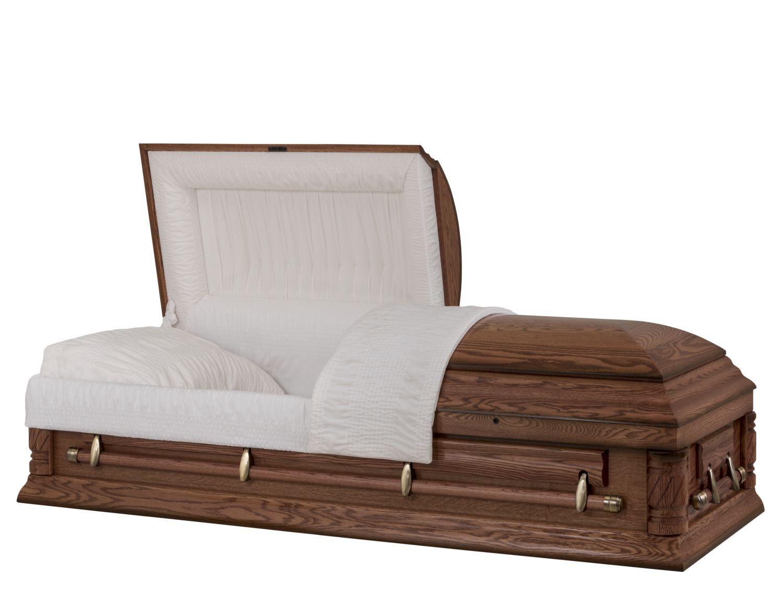 Concept Caskets 74208-00029-N OAK CASKET POLISHED NOVA VELVET VERMILLION ADJUSTABLE BED YES W1542W-6    4 X 2 ANTIQUE GOLD
