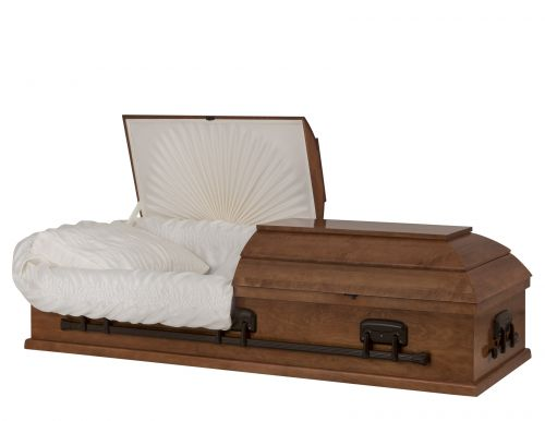 Concept Caskets 10015-00005-N POPLAR CASKET SATIN CREPE MEDIUM COTTON WOOD ADJUSTABLE BED NO 900    3 X 1 BRONZE