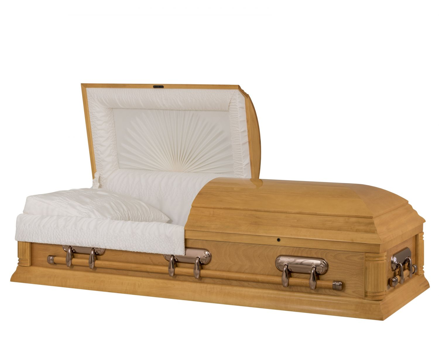 Concept Caskets 17204-00077-N POPLAR CASKET POLISHED CREPE LIGHT MAPLE MATRESS NO H2110-1    3 X 1 COPPER