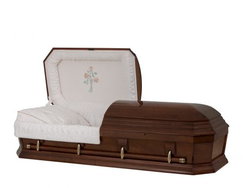 Concept Caskets 28262-00141-N POPLAR CASKET POLISHED CREPE CHERRY ADJUSTABLE BED NO W1540W-1    4 X 0 ANTIQUE GOLD