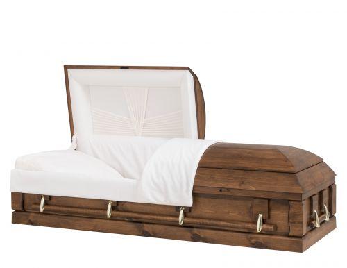 Concept Caskets 90218-00039-N PINE CASKET OPEN GRAIN NOVA VELVET VARSA ADJUSTABLE BED YES W1542G-1T    4 X 2 GOLD NO TIP