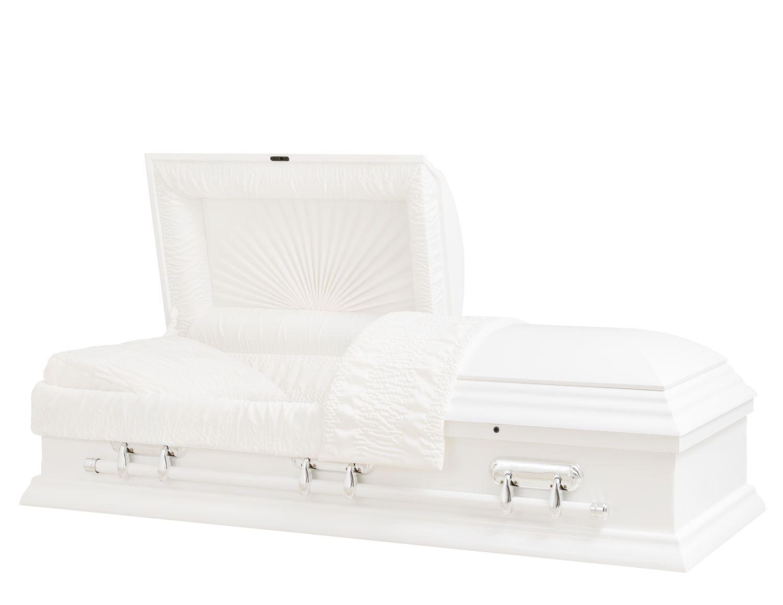 Concept Caskets 17L15-00041-N POPLAR CASKET SEMI POLISHED CREPE WHITE LOCATION BED NO H2511A-1    3 X 0 SILVER