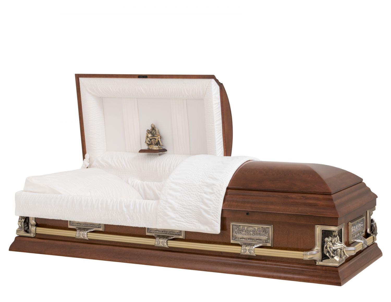 Concept Caskets 17237-00027-N POPLAR CASKET GLOSS NOVA VELVET CHERRY ADJUSTABLE BED YES B1550-40 BUMPER    3 X 1 ANTIQUE GOLD