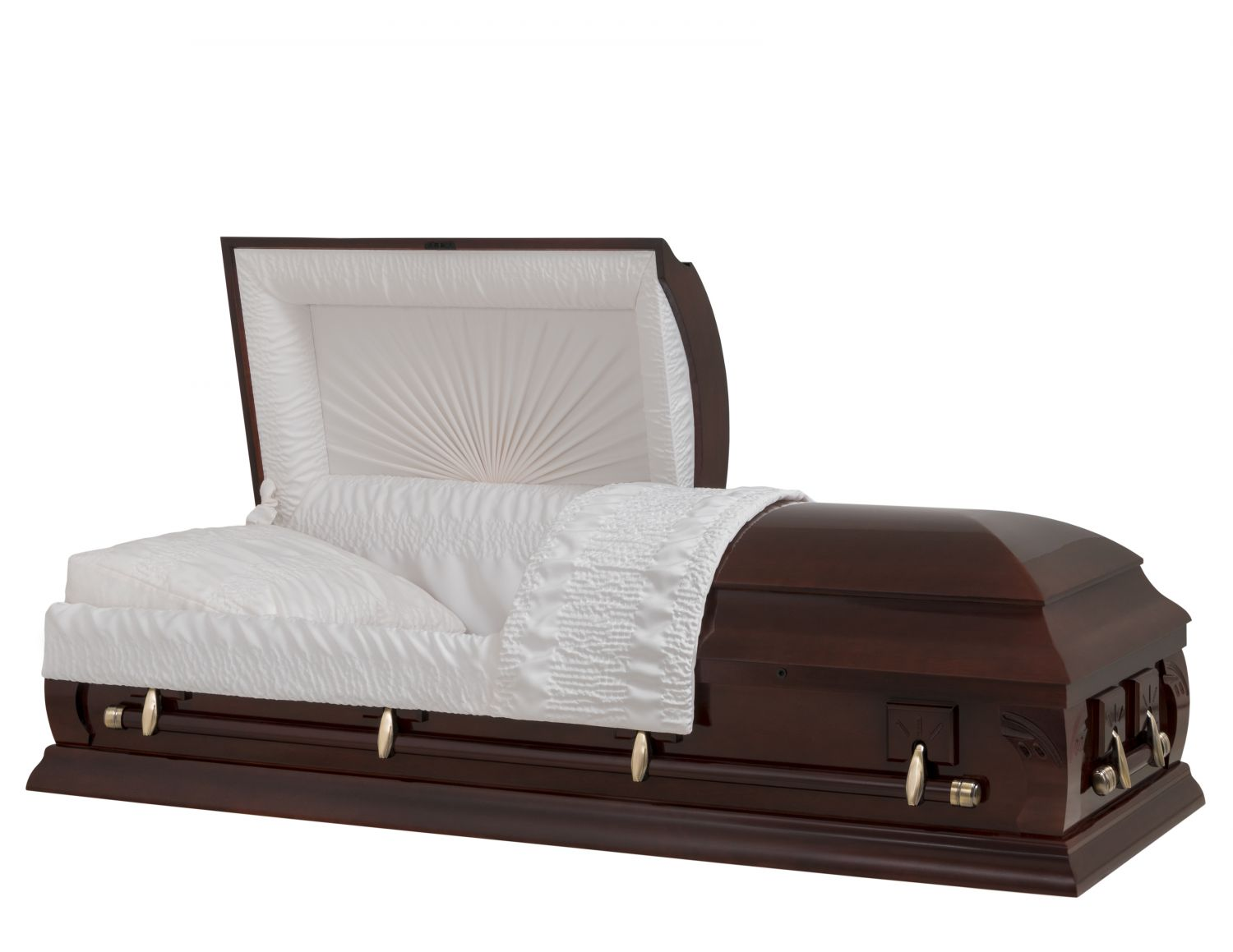 Concept Caskets 23223-00002-N POPLAR CASKET POLISHED CREPE VICTORY MAHOGANY ADJUSTABLE BED YES W1542W-1    4 X 2 ANTIQUE GOLD