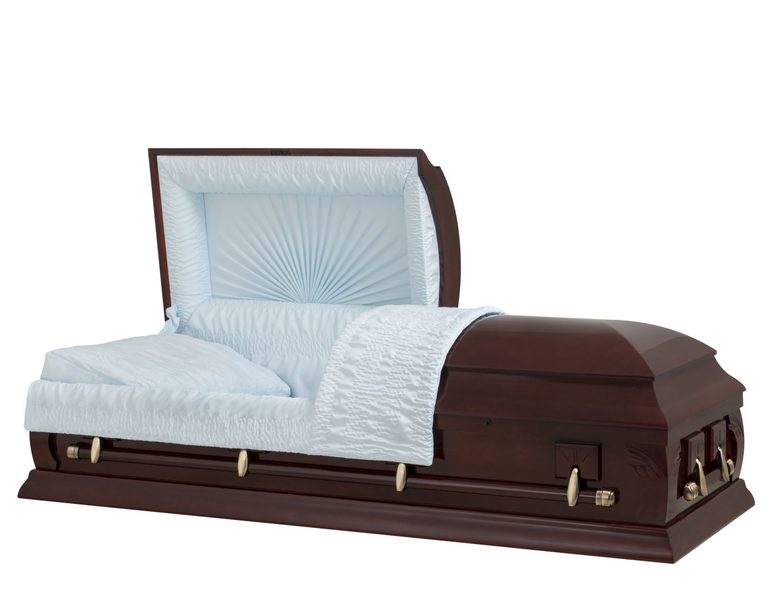 Concept Caskets 23223-00006-N POPLAR CASKET POLISHED CREPE VICTORY MAHOGANY ADJUSTABLE BED YES W1542W-1    4 X 2 ANTIQUE GOLD