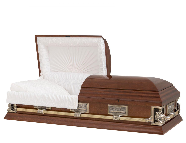 Concept Caskets 17237-00023-N POPLAR CASKET GLOSS CREPE CHERRY ADJUSTABLE BED NO B1550-40 BUMPER    3 X 1 ANTIQUE GOLD PIETA