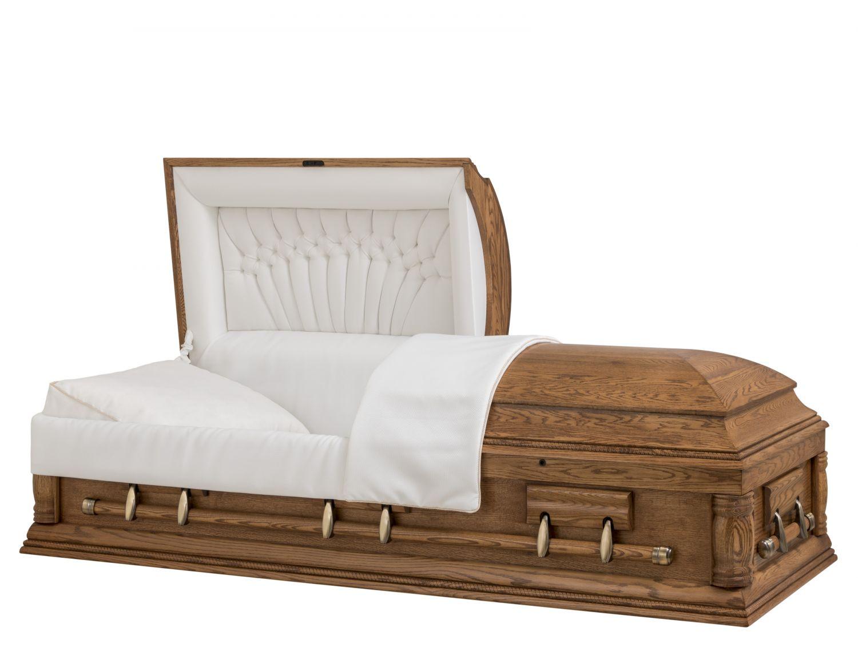 Concept Caskets 62205-00456-N OAK CASKET OPEN GRAIN BASKET WEAVE DARK MEDIUM ADJUSTABLE BED YES W1462W-6    6 X 2 ANTIQUE GOLD
