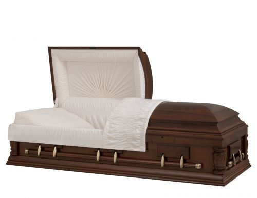 Concept Caskets 08241-00017-N MAPLE CASKET SEMI POLISHED NOVA VELVET CHERRY ADJUSTABLE BED YES W1462W-0    6 X 2 ANTIQUE GOLD