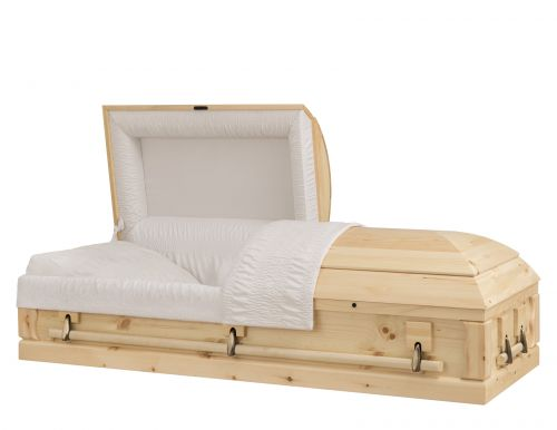 Concept Caskets 90218-00053-N PINE CASKET OPEN GRAIN TAFFETA NATURAL ADJUSTABLE BED YES W1A32W-1T    3 X 2 ANTIQUE GOLD NO TIP