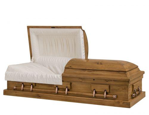 Concept Caskets 96215-00004-N PINE CASKET GLOSS CREPE GRENOBLE ADJUSTABLE BED NO W1462X-1    6 X 2 COPPER