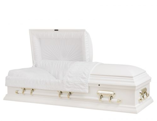 Concept Caskets 17215-00065-N POPLAR CASKET GLOSS CREPE WHITE ADJUSTABLE BED YES H2510S-1    3 X 1 BRUNTONE
