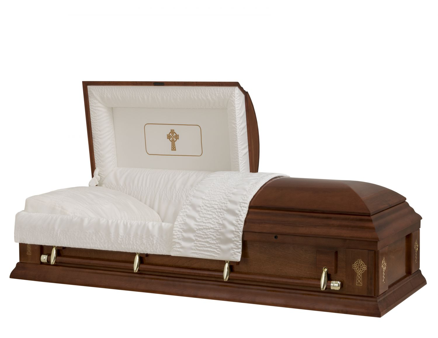 Concept Caskets 17285-00007-N POPLAR CASKET SEMI POLISHED CREPE CHERRY MATRESS YES W1540G-1    4 X 0 GOLD