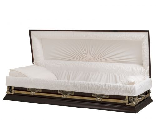 Concept Caskets 17937-00006-N POPLAR CASKET SEMI POLISHED NOVA VELVET AMARETTO ADJUSTABLE BED NO B1550-40 BUMBER    3 X 1 ANTIQUE GOLD PIETA / LAST SUPPER