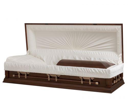 Concept Caskets 18104-00090-N POPLAR CASKET GLOSS CREPE CHERRY ADJUSTABLE BED NO H2110-1    3 X 1 COPPER