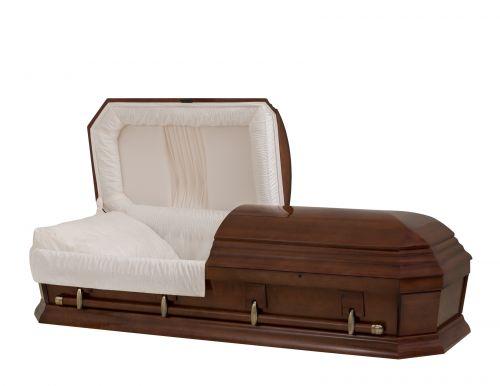 Concept Caskets 28262-00569-N POPLAR CASKET POLISHED NOVA VELVET CHERRY ADJUSTABLE BED NO W1940W-1    4 X 0 ANTIQUE GOLD