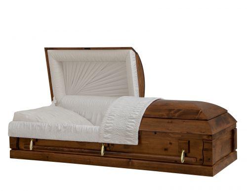 Concept Caskets 90218-00062 PINE CASKET OPEN GRAIN TAFFETA VERSA ADJUSTABLE BED YES W1A30G-1T    3 X 0 GOLD NO TIP