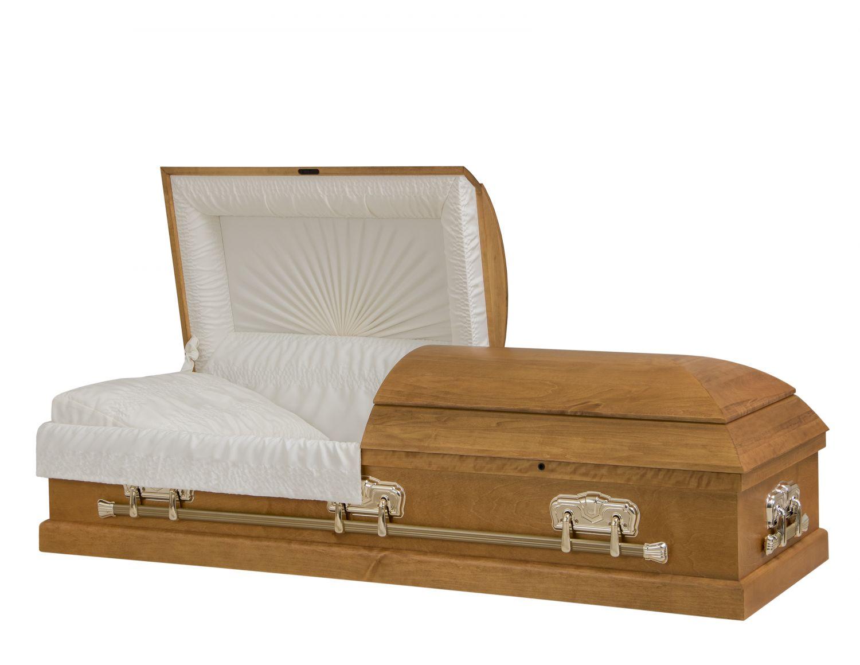 Concept Caskets 12215-00377-N POPLAR CASKET OPEN GRAIN CREPE TOPAZE ADJUSTABLE BED NO 1700    3 X 1 BRIGHT GOLD